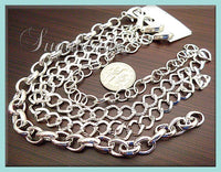 4 Bright Silver Bracelets, Bracelet Chains, Blank Mixed Chains, 8 inch Bracelet Chain, CSB4