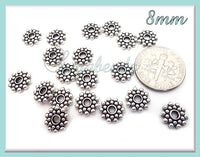 75 Bali Style Spacers, Antiqued Silver Daisy Spacers 8mm, Antique Silver Snowflake Spacers, DS3