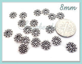 75 Bali Style Spacers, Antiqued Silver Daisy Spacers 8mm, Antique Silver Snowflake Spacers, DS3 - sugabeads