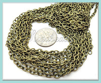 16 feet Bulk Chain, Antiqued Brass Cable Chain, 4mm x 3mm Links, Unfinished Chain, CB1