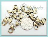 25 Brass over Copper Lobster Clasps - Brass Lobster Clasps 12mm x 7mm