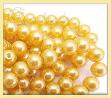 50 Corn Silk Yellow Glass Pearls, 8mm Glass Pearls, Yellow Round Glass Pearls