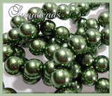 50 Dark Forest Green Glass Pearls, 8mm Round Glass Pearls