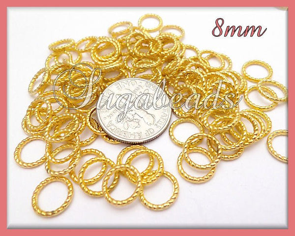 50 Bright Gold Twist Jump Rings, Closed Twisted Jump Rings 8mm, #JRT7