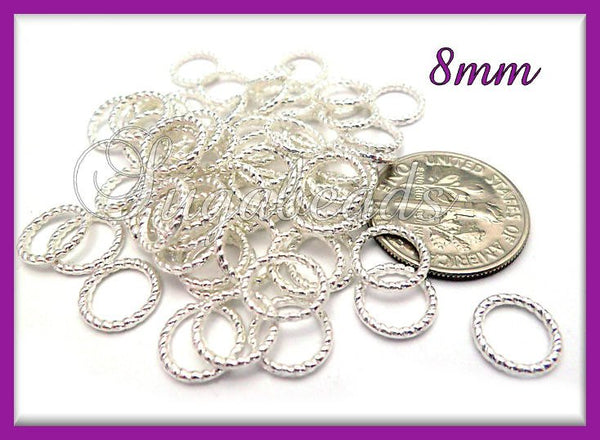 50 Bright Silver Twisted Jump Rings, Closed Twisted Jump Rings 8mm, JRT1