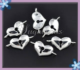 2 Bright Silver Plated Heart Connectors 36mm - sugabeads