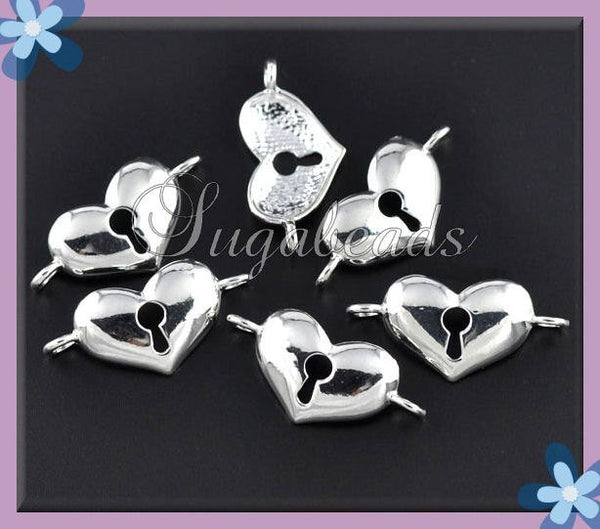2 Bright Silver Plated Heart Connectors 36mm