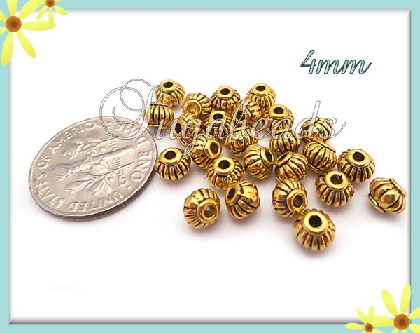 50 Antiqued Gold Round Lantern Spacer Beads 5mm x 4mm