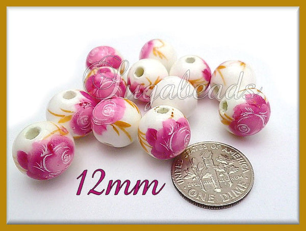 10 White Ceramic Beads with Flowers - Pink Peony Ceramic Beads 12mm