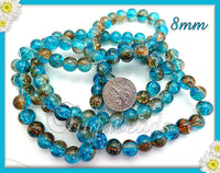 50 Blue and Light Brown Crackle Glass Beads 8mm