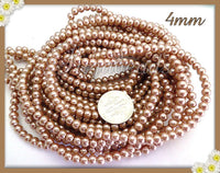 200 Light Latte Cream Glass Pearls, Beige Glass Pearls 4mm - sugabeads