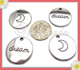 5 Round Stamped Dream Crescent Moon Charms Antiqued Silver 20mm PS153
