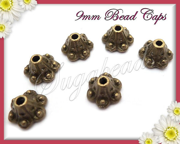 20 Bell Flower Bead Caps - Antiqued Brass Bead Caps 10mm - sugabeads