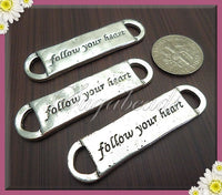 3 Silver Stamped Connectors, Follow Your Heart Charms, Follow your heart Connectors - sugabeads