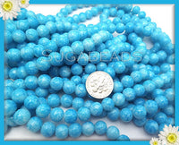50 Sky Blue Glass Beads 8mm - Marbled Blue Round Beads
