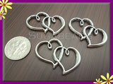 4 Antiqued Silver Heart Connectors 32mm