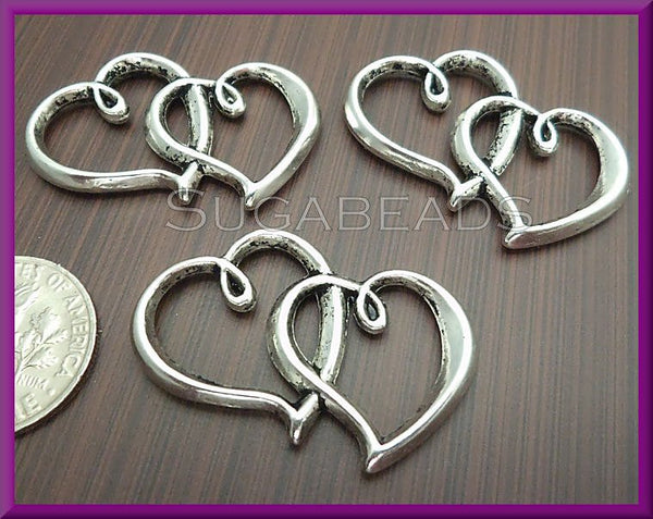 4 Antiqued Silver Heart Connectors 32mm - sugabeads