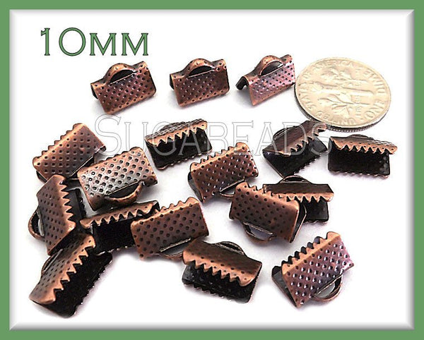 40 Antiqued Copper Ribbon Crimps - Copper End Crimps 10mm - sugabeads
