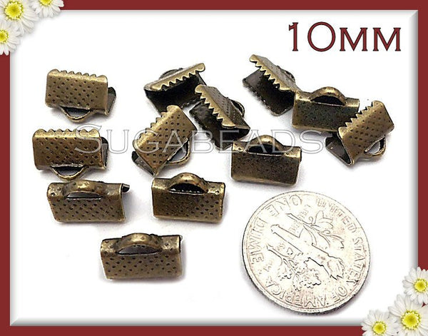 40 Antiqued Brass Ribbon end Crimps 10mm