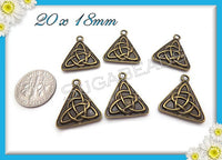 4 Antiqued Brass Celtic Knot Charms or Triangle Celtic Pendants 20mm PB10