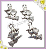 12 Witch Charms - Silver Witch with Broom Charms 16mm PS52 - sugabeads