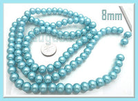 50 Light Blue Round Glass Pearl Beads 8mm GPLB1