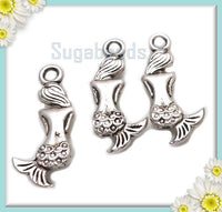 15 Antiqued Silver Mermaid Charms 20mm PS103