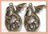 2 Dragon Pendants - Nicely Detailed Antiqued Brass 37mm PB38