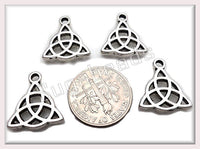 10 Celtic Charms, Antiqued Silver Celtic Triangle Knot Charms 16mm, PS58
