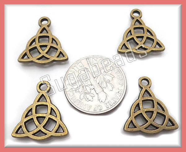 10 Celtic Charms - Celtic Triquetra Antiqued Brass - Celtic Knot Charms 16mm PB8