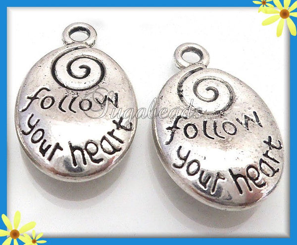 6 Antiqued Silver Spiral Charms, Stamped Charms, Follow Your Heart, 20mm PS94