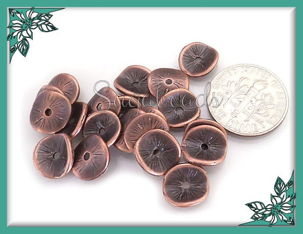 50 Antiqued Copper Spacers, Curved Spacer Beads, Wavy Copper Spacers, 9mm Bead Spacers