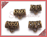 12 Antiqued Brass Bails, 11mm Bails, Scroll Design Bails - sugabeads