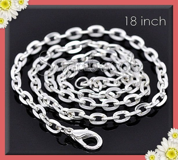 12 Bright Silver Necklace Chains - Finished Flat Cable Chains, 18 inch Chains, CSP1