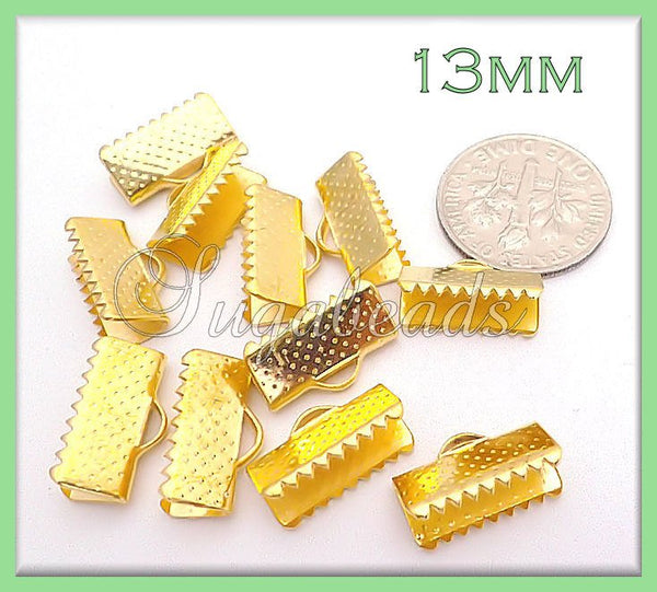 20 Bright Gold Ribbon Crimps - End Crimps for cord 13mm