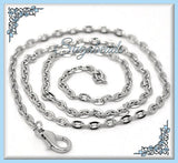 4 Silver Chain Necklaces, Silver Tone Flat Cable Chains, 18 inch Chains, Silver Chains, CST1