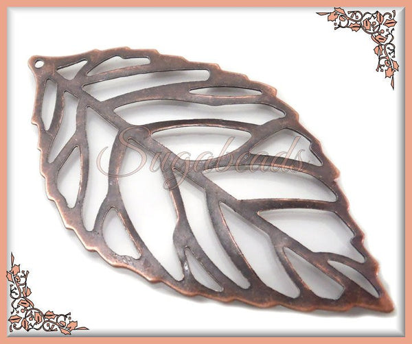 10 Antiqued Copper Leaf Pendants, Filigree Copper Leaves 54mm