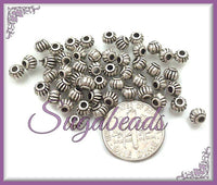 50 Antiqued Silver Round Pumpkin Shape Spacer Beads 4mm