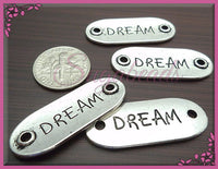 4 Silver Dream Connectors 33mm Oval Dream Charms Silver Dream Pendants