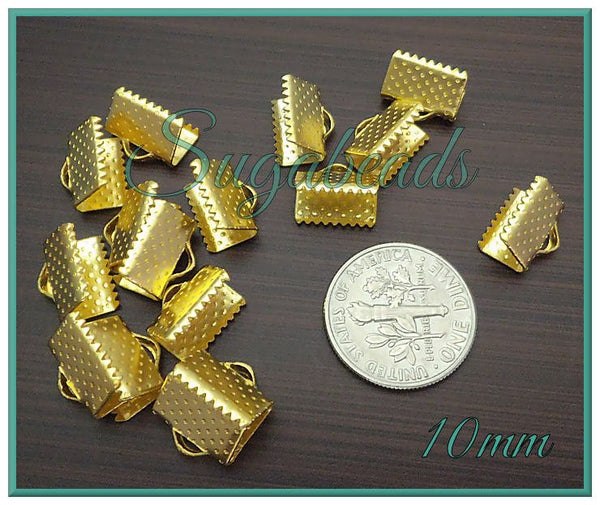 20 Bright Gold Ribbon Crimps 10mm - Gold Tone Cord Crimps