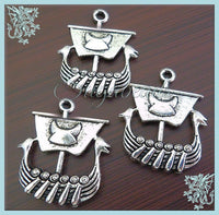 5 Antiqued Silver Dragon Viking Ship Charms, Viking Boat Charms 26mm PS101