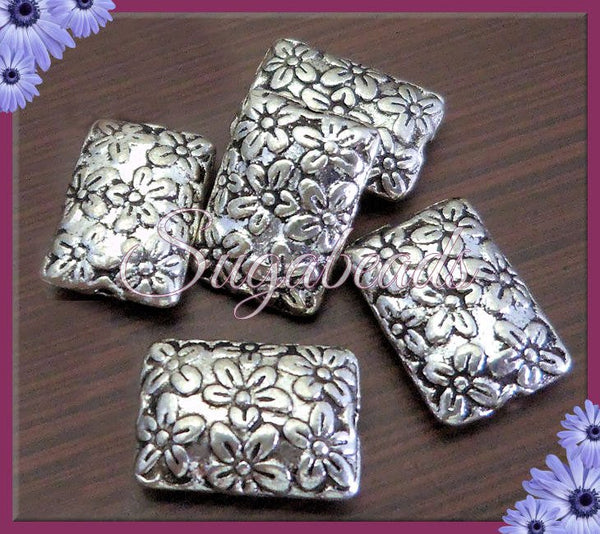 10 Antiqued Silver Pillow Rectangle Beads -Rectangle Flower Beads 12mm