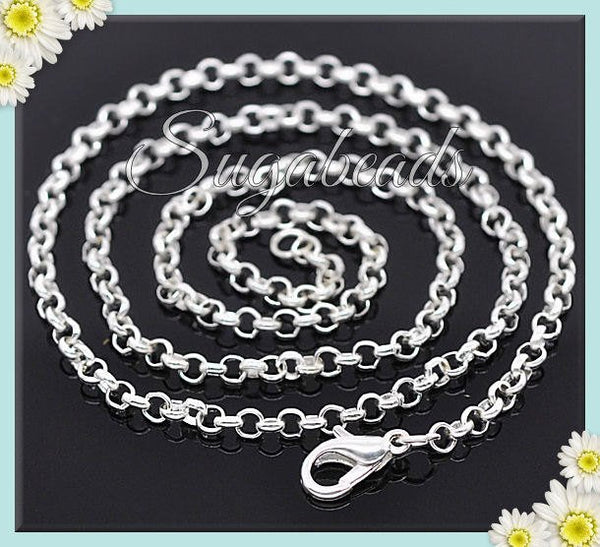 4 Bright Silver Finished Rolo Chains, 20 inch Silver Chains, SB06