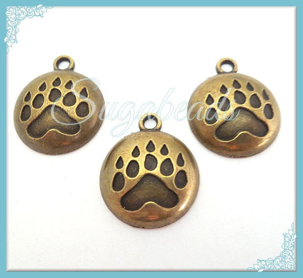 6 Antiqued Brass Animal Paw Print Charms- Foot Print Charms 20mm PB18