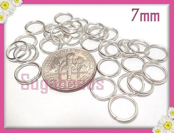 100 Bright Silver Open Jump Rings, 7mm Diameter, 18 Gauge 1mm Thick, JRSP1 - sugabeads