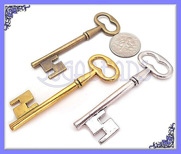 3 Mixed Metal Key Pendants in Silver, Brass and Gold Skeleton Keys - sugabeads