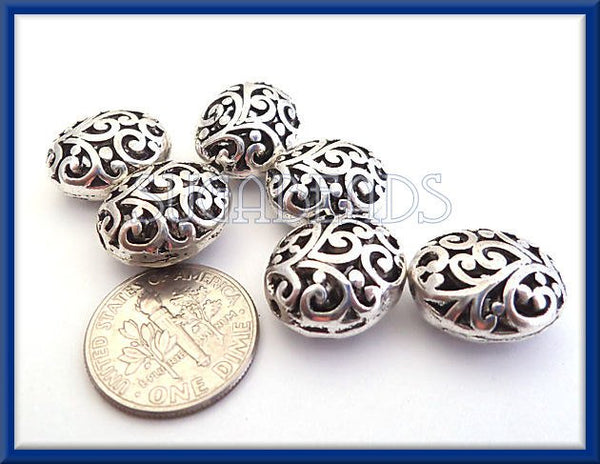 5 Antiqued Silver Oval Filigree Beads - Flourish Filigree Beads 22mm x 16mm, PS132