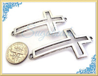 4 Hollowed Antiqued Silver Cross Connectors 55mm