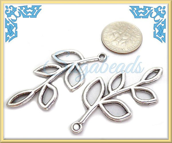 6 Antiqued Silver Leaf Branch or Twig Connectors 33mm