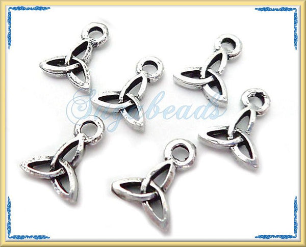 12 Tiny Antiqued Silver Celtic Knot Charms 10mm x 8mm PS40